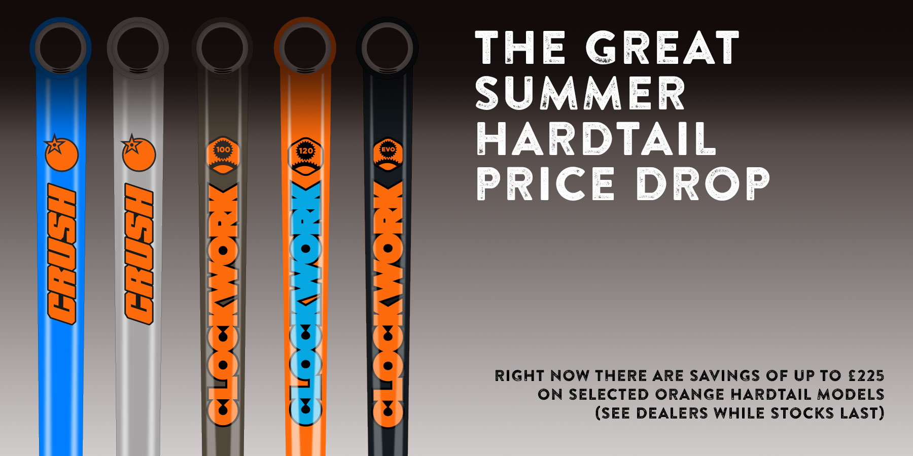 Save up to £225 on selected Orange hardtails.
