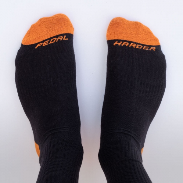 Orange Crew Sock Pedal Harder