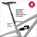 Incorrect seatpost insertion. Likely to damage frame