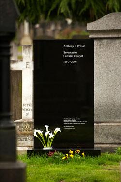 Tony Wilson Head stone
