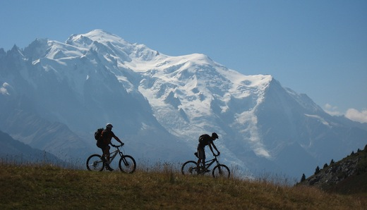 Carl and Sian Mont Blanc Orange Bikes Chamonix