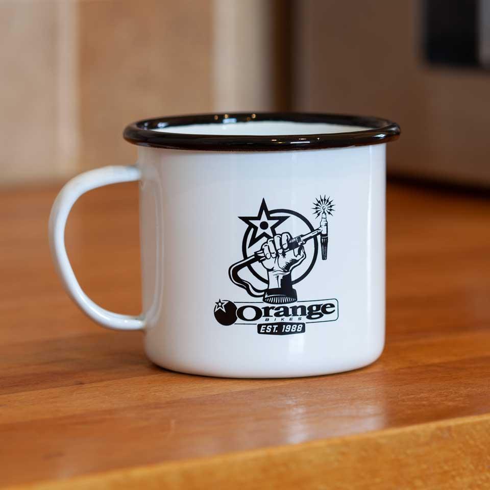 Orange Bikes Enamel Dangle Mug